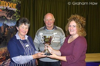 Alison Hart and Tony Bigwood receiving the cup from Jane  Gilbert, Exmoor &  Quantocks Food Links officer.